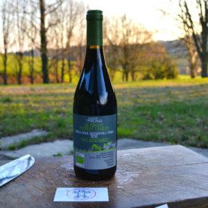 Bottigilia di vino in primo piano con sfondo alberato - Agrisalumeria del Bosco