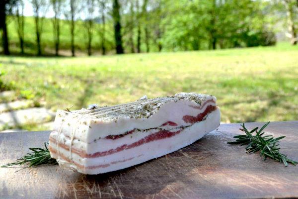 Trancio di Lardo su tagliere con rami di rosmarino, con parco sullo sfondo-Agrisalumeria del Boscoa