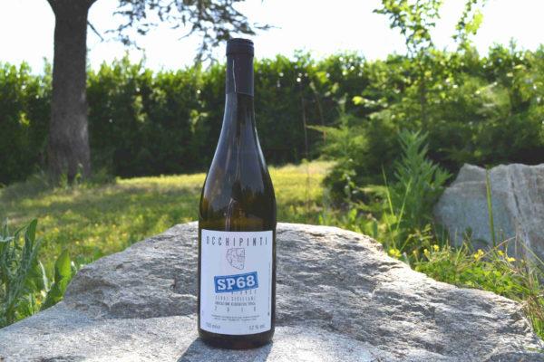 Bottiglia di vino appoggiata su una pietra, prato sullo sfondo-Agrisalumeria del Bosco